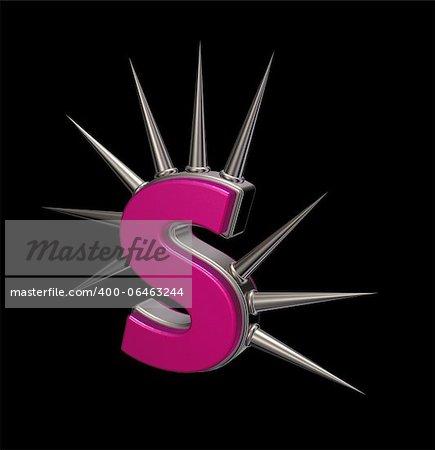 letter s with metal prickles on black background - 3d illustration
