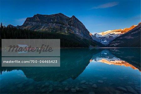 Cabin on Lake Louise at Dawn, Banff National Park, Alberta, Canada