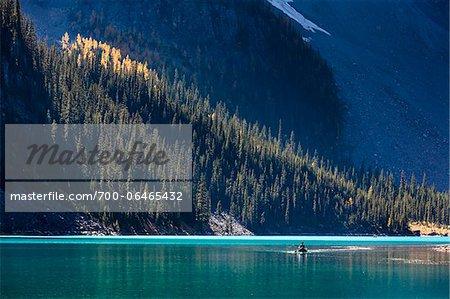 Person in Canoe on Moraine Lake, Banff National Park, Alberta, Canada