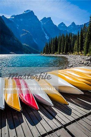 Row of Canoes on Dock, Moraine Lake, Banff National Park, Alberta, Canada