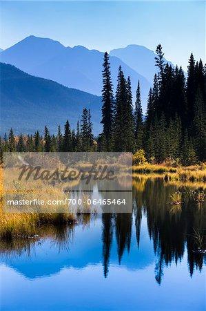 Vermilion Lakes and Mountain Range, near Banff, Banff National Park, Alberta, Canada