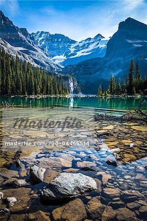 Rocky Shore of Alpine Lake, Lake O'Hara, Yoho National Park, British Columbia, Canada