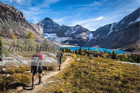 People Hiking on Trail at McArthur Lake, Yoho National Park, British Columbia, Canada