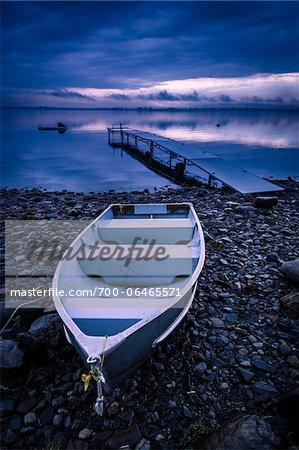 Rowboat on Rocky Shore near Dock, King Bay, Point Au Fer, Champlain, New York State, USA