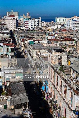 Overview of City and Ocean, Havana, Cuba