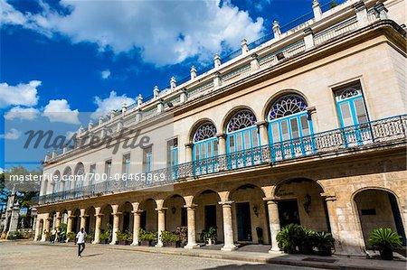 Facade of Hotel Santa Isabel, Plaza de Armas, Old Havana, Havana, Cuba