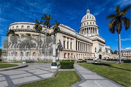 El Capitolio and Palm Trees, Old Havana, Havana, Cuba