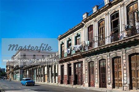 Blue Classic Car and Architecture, Havana, Cuba