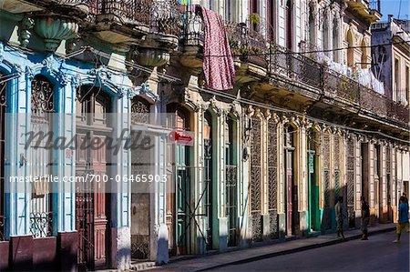Row of Multi-Colored Pastel Buildings with Barred Windows, Havana, Cuba