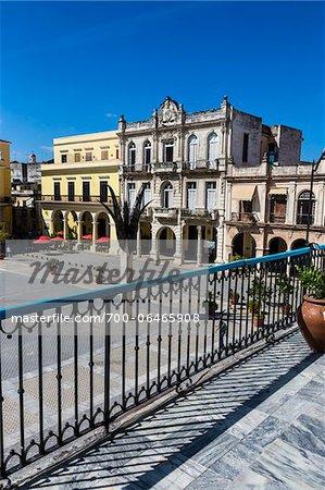 Overview of Buildings in Plaza Vieja from Balcony, Havana, Cuba