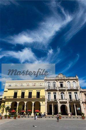 Restaurant and Buildings Lining Plaza Vieja, Havana, Cuba