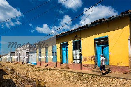 Cobblestone Street and Colorful Homes, Trinidad, Cuba