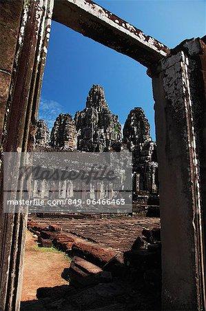 View of Bayon Temple through stone doorway, Angkor Wat, Cambodia
