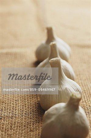 Garlic on a hemp cloth