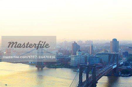 Brooklyn Bridge, Manhattan Bridge, Brooklyn, East River, Dumbo, Queens, shot from Manhattan