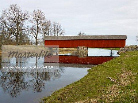 View of covered bridge