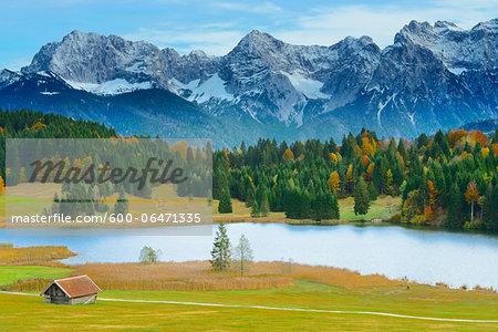 Hay Barn, Lake Geroldsee and Karwendel Mountain Range in Autumn, Werdenfelser Land, Upper Bavaria, Bavaria, Germany
