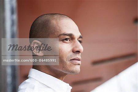 Portrait of Man Outdoors, Mannheim, Baden-Wurttemberg, Germany