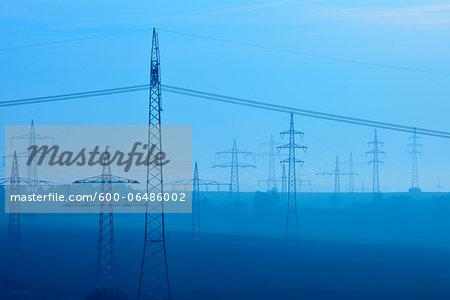 Electricity Pylon on Misty Morning, Erlenbach, Lower Franconia, Bavaria, Germany