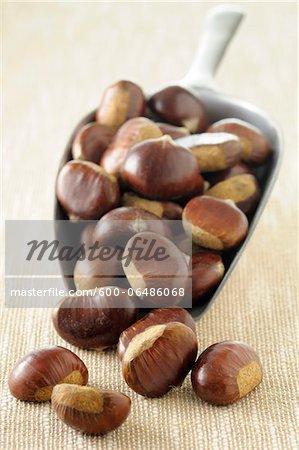 Close-up of Chestnuts Spilling from Scoop on Beige Background, Studio Shot