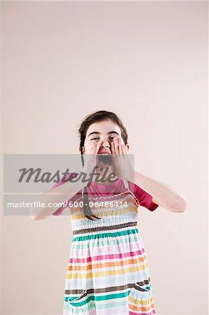 Portrait of Girl Yelling in Studio