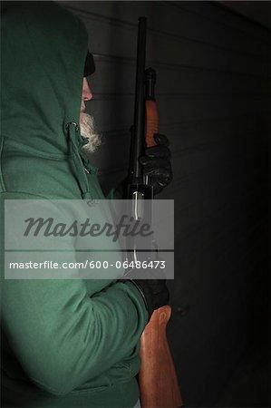Man with Shotgun, Mannheim, Baden-Wurttemberg, Germany