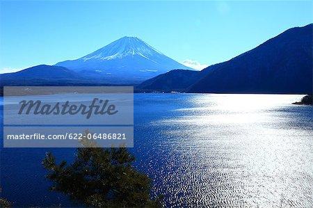 Mount Fuji and Lake Motosu in Minobu city, Yamanashi Prefecture