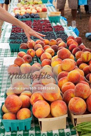 Hand Reaching for Peaches at a Farmer's Market