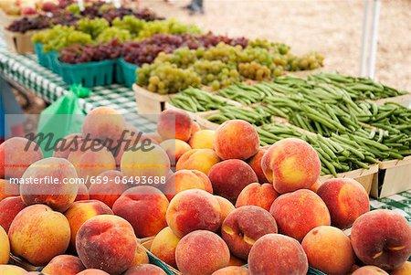 Fresh Peaches at a Farmer's Market