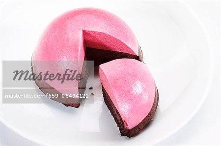 Raspberry Dome Cake on White Background