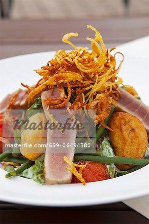 Roast potato, fried tuna, green beans and braised tomato salad