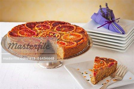 Blood Orange Upside Down Cake made with Polenta; Sliced