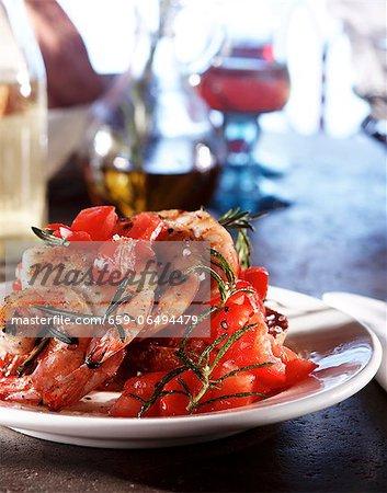 Shrimp, Tomato and Rosemary Bruschetta