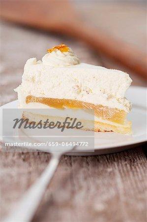 A slice of apple cream cake