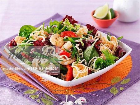 Vegetable salad with king prawns (Thailand)