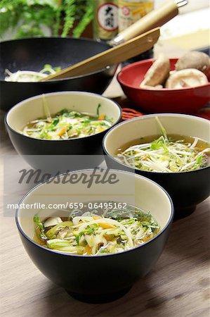 Szechuan soup with ginger, chilli, shiitake mushrooms, lemongrass, leek and carrots (China)