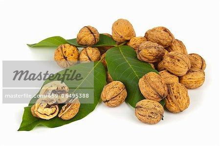Whole and halved walnuts on walnut leaves