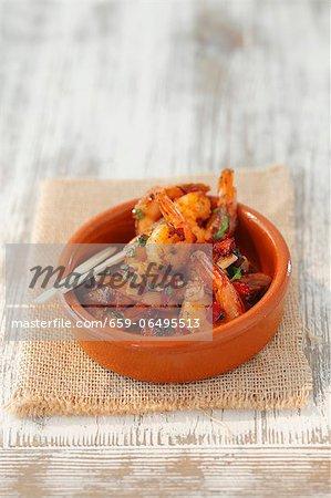 Gambas al ajillo (garlic prawns, Spain)