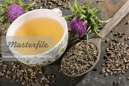 Milk thistle (tea, tea leaves, a flower and seeds)
