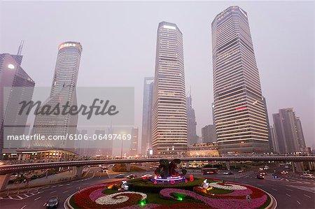 High buildings and circular road in Shanghai