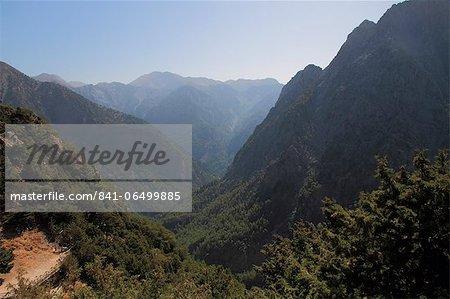 Samaria Gorge from lookout, Crete, Greek Islands, Greece, Europe