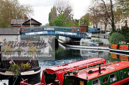 The Grand Union Canal showing the Westbourne Terrace Road Bridge, Little Venice, Maida Vale, London, England, United Kingdom, Europe