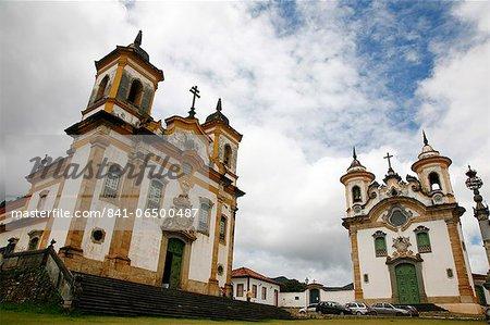 Sao Francisco de Assis (St. Francis of Assisi) and Nossa Senhora do Carmo (Our Lady of Mount Carmel) churches at Praca Minas Gerais, Mariana, Minas Gerais, Brazil, South America