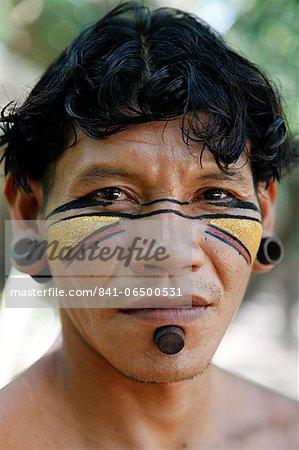 Portrait of a Pataxo Indian man at the Reserva Indigena da Jaqueira near Porto Seguro, Bahia, Brazil, South America