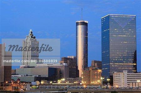 City skyline at dusk, Atlanta, Georgia, United States of America, North America