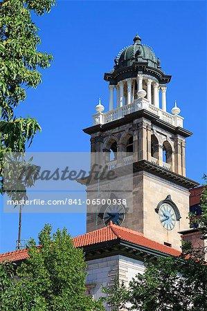 Clock tower on the Pioneers Museum, Colorado Springs, Colorado, United States of America, North America