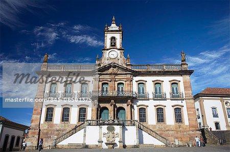 Museu da Inconfidencia and Praca Tiradentes, Ouro Preto, UNESCO World Heritage Site, Minas Gerais, Brazil, South America