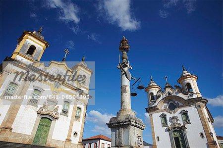 Nossa Senhora do Carmo (Our Lady of Mount Carmel) and Sao Francisico de Assis (St. Francis of Assisi) churches in Praca Minas Gerais, Mariana, Minas Gerais, Brazil, South America