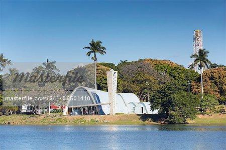 Church of St. Francis of Assisi, designed by Oscar Niemeyer, Pampulha Lake, Pampulha, Belo Horizonte, Minas Gerais, Brazil, South America