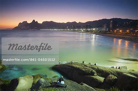 View of Ipanema beach at sunset from Ponta do Arpoador, Ipanema, Rio de Janeiro, Brazil, South America